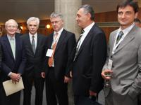Darko Tipuric (Dean, Faculty of Economics Zagreb), Michael Porter, Mladen Vedris, Damir Kustrak (President, Croatian Employers' Association CEA), Ivica Mudrinic, (CEO Croatian telekom) & Zeljko Kardum